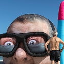 Inflated Damien Hirst Head Pops Up on Perth Beach, Snorkeling for Another $12 Million Shark